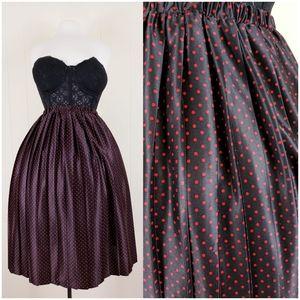 Vintage tiny red and black polkadot skirt
